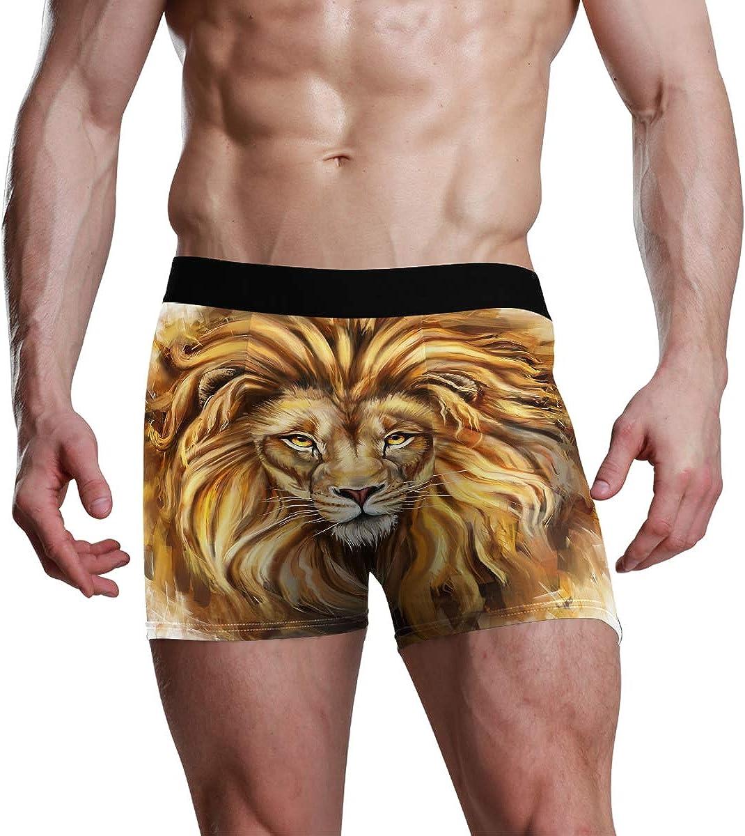 Mens Boxer Briefs Lion Digital Painting Custom Personalized Low Rise Trunks Underwear Breathable Bikini Boys