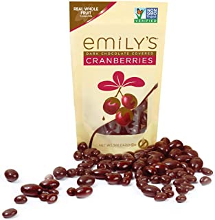 Emily's NON GMO Dark Chocolate Covered Cranberries, 5 Ounce