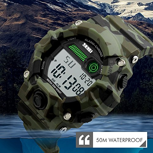 TONSHEN Men's LED Digital Watch Waterproof 50M Water Resistant Outdoor Sport Watch Military 12H/24H Time Electronic Army Camouflage Plastic Case with Rubber Strap Backlight Calendar Stopwatch