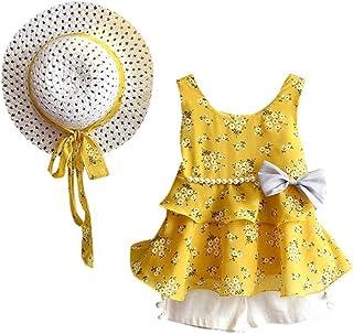 Hirolan Bekleidung 3 Stück Kleinkind Baby T-ShirtShorts Kurze Hosen Sonnenhut Kind Mädchen Outfits Kleider Blumen Weste Sommerkleidung Chiffon Strampler Spielanzug