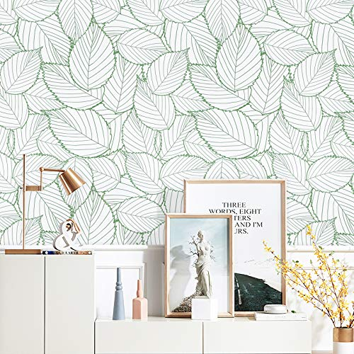 17.7' X197'Modern Leaf Peel and Stick Wallpaper Removable Leaves Self-Adhesive Wallpaper Waterproof Green Leaf Wallpaper Green and White Contact Paper Decorative Bedroom Wall Vinyl Roll
