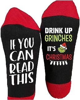 GuliriFe, Calcetines para mujer The Grinch, forro para zapatos, Navidad, diseño de letras, tubo, regalos de punto, calcetines de lana para el invierno
