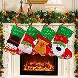ANTOPM Christmas Stockings Santa Candy Bag,4pcs Santa Gift Socks Hanging Accessories for Xmas Tree Party Decorations