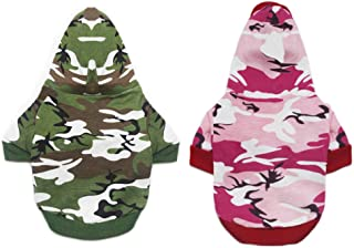 DERUILA 2 Pack Dog Hoodie Camo Clothes Cat T Shirt for Small boy Dog Girl (S)