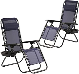 Zero Gravity Chairs Set of 2 with Pillow and Cup Holder Patio Outdoor Adjustable Dining..