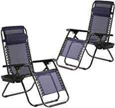 FDW Zero Gravity Set of 2 with Pillow Outdoor Adjustable Dining Reclining Folding Chairs for Deck Patio Beach Yard (Blue)