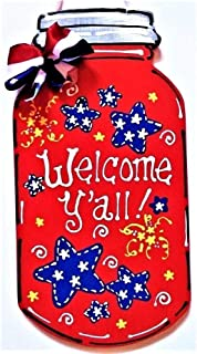 Americana Mason Jar Welcome Y'all Sign Wall Art Door Porch Hanger Plaque Decor Home Decor tokomillcrafty