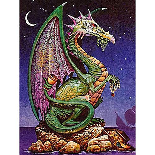 DIY 5D Diamond Painting Kits Full Drill Arts Craft Canvas Supply for Home Wall Decor Adults and Kids Square Diamond Old Dragon 20inx40in