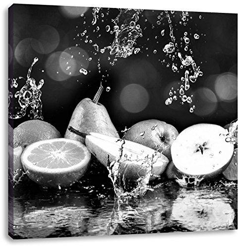 Vruchten in water Art B & WCanvas Foto Plein | Maat: 40x40 cm | Wanddecoraties | Kunstdruk | Volledig gemonteerd