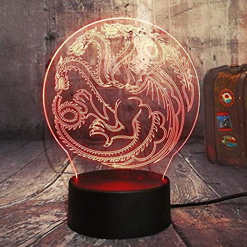 3d lampara de la noche LED Lámpara de Escritorio Juego de Tronos Canción de hielo y fuego lámpara de escritorio creativa para cumpleaños Con interfaz USB, cambio de color colorido