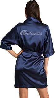 Zynotti Women's Rhinestone Bride Bridesmaid Maid of Honor Mother of The Bride Mother of The Groom Wedding Satin Robe