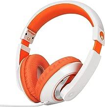 RockPapa On Ear Stereo Headphones Earphones for Adults Kids Childs Teens, Adjustable, Heavy Deep Bass for iPhone iPod iPad MacBook Surface MP3 DVD Smartphones Laptop (White/Orange)