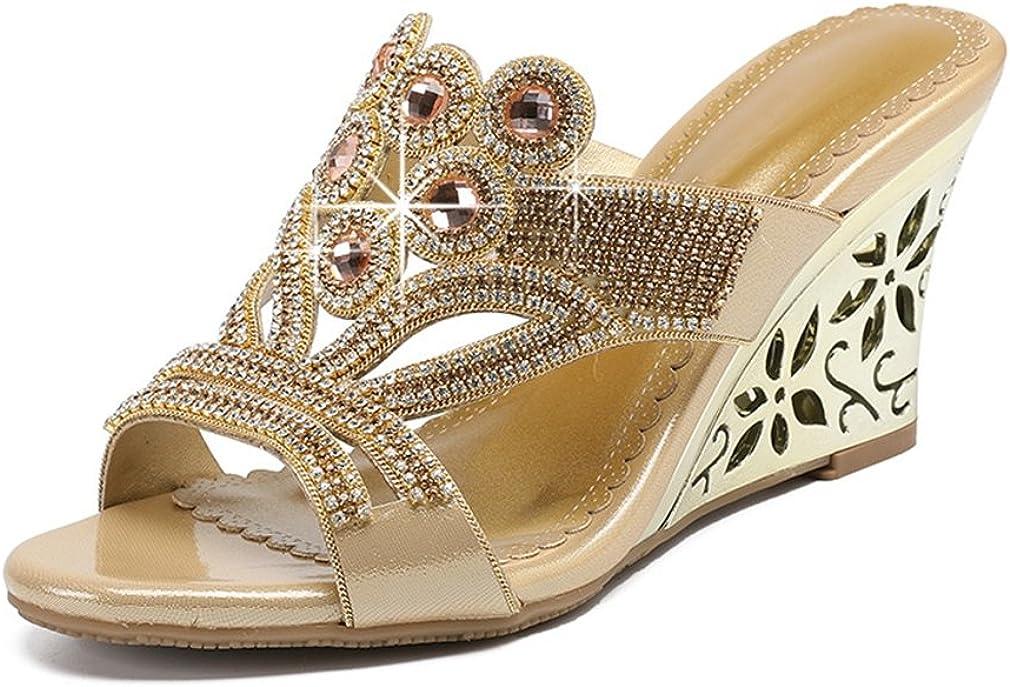 U-MAC Platform Wedge Slides Sandals for Womens Open Toe Rhinestone Embellished Slip On Party Slippers