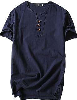 [エムエルーセ] カジュアル Tシャツ 半袖 3ボタン リネンシャツ 綿麻 ヘンリーネック ビジネス 無地 6 カラー M - 4XL メンズ