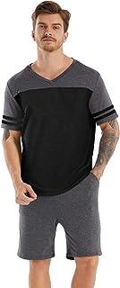Men's Pajamas Set Short Sleeve T-Shirt top & Shorts 2 Pieces Cotton Sleepwear Nightwear Loungewear PJ Set for Summer