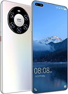 シムフリー&ロック解除携帯電話4Gスマートフォン6.82インチFHDディスプレイ顔IDビッグバッテリーファーストチャージ険しいスマートフォンAndroid携帯電話,白