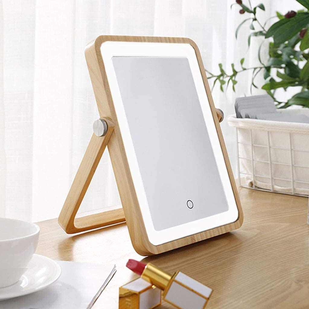 Ping Bu Max 56% OFF Qing Yun Makeup Mirror L Desktop Fill Wooden Rapid rise with Light