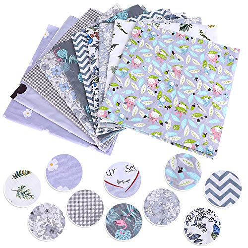 Hphore 10pcs Tissus Patchwork Coton Textile de Coton DIY Bricolage Habillement Couture Chiffons Imprimé Fleur Etoiles Motif 50x50cm