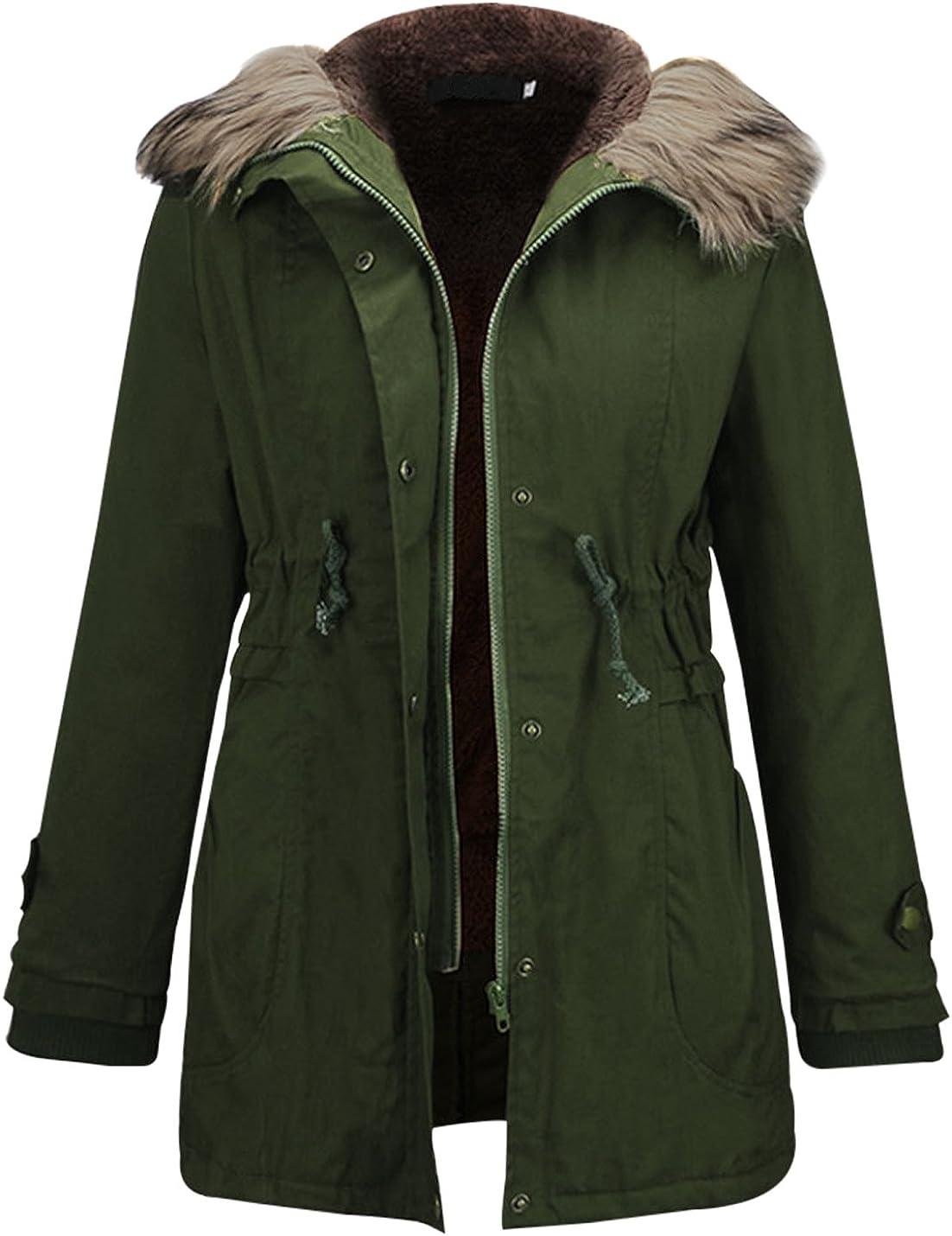 Jenkoon Women's Winter Military Hooded Faux Fur Lined Parkas Jacket Mid Length Warm Coat