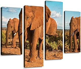 African elephant matriarchy against a blue sky Canvas Print Artwork Wall Art Pictures Framed Digital Print Abstract Painti...