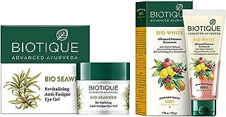Biotique Bio Seaweed Revitalizing Anti Fatigue Eye Gel, 15g & Biotique Bio White Advanced Fairness Treatment Cream, 50g