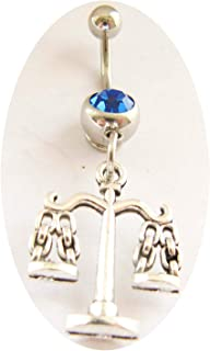Libra Scales of Justice Bellybutton Ring Belly Button Jewelry Body Jewelry Bellybutton Jewelry