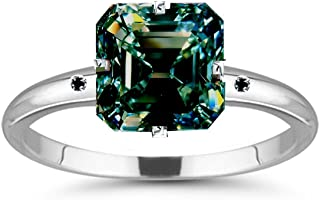 Silver Plated Emerald Moissanite Engagement Ring Size 7 (2.55 Ct,Green Blue Color,VVS1 Clarity)