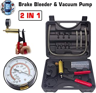 HTOMT 2 in 1 Brake Bleeder Kit Hand held Vacuum Pump Test Set for Automotive with Protected Case,Adapters,One-Man Brake an...