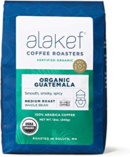 Alakef Coffee Roasters Organic Guatemala Whole Bean, Medium Roast, 100% Arabica, 12 oz Bag