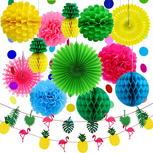 Aneco 15 Pezzi Summer Party Decoration Kit Tissue Ananas Paper Pom Poms Flowers Tissue Paper Fan Carta a Pois Ghirlanda Flamingo Ananas Banners for Hawaiian Summer Luau Party