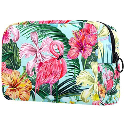 Bolsa de Pinceles de Maquillaje Personalizada Bolsas de Aseo portátiles para Mujer Bolso Organizador de Viaje cosmético Acuarela Flamingo Floral Estampado de Palmeras Tropicales