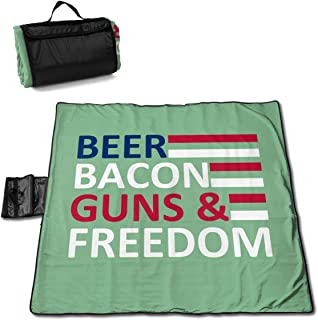 DXYC-DZ Beer Bacon Gun Freedom Picnic Blanket Beach Waterproof for Picnic Beaches Outings 57