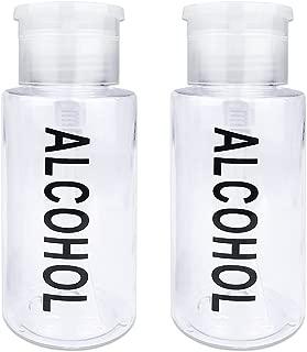 PANA Brand 7oz. (Quantity: 2 Pieces) CLEAR Color Alcohol Labeled Liquid Push Down Pump Dispenser Bottle with Flip Top Cap