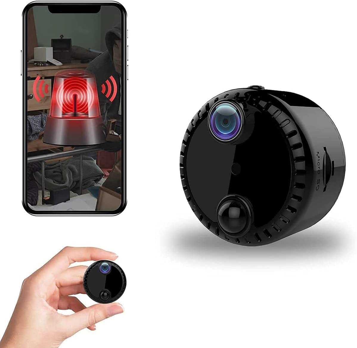 Hidden Camera WiFi Spy Camera 1080P Mini Camera 30 Days Standby Wireless Nanny Cam with Night Vision PIR Motion Detection Portable Security Surveillance Camera Suitable for Indoor and Outdoor