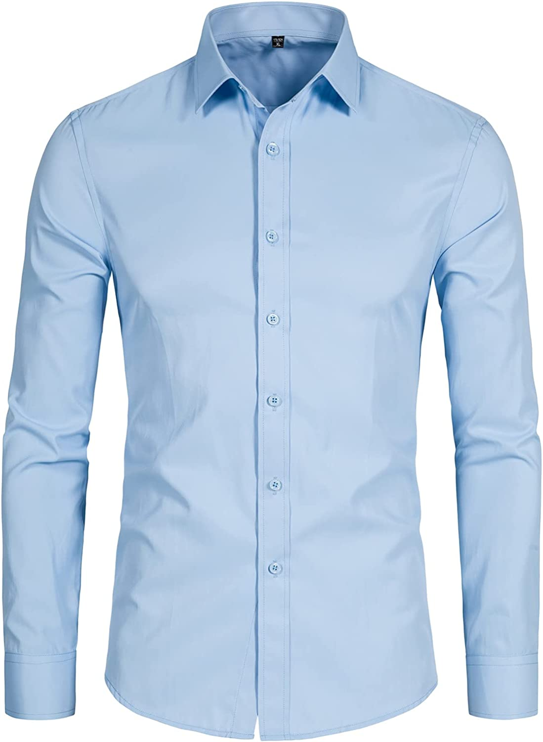 Max 66% OFF DELCARINO Men's Long Sleeve Button Up Slim Solid Casu Fit Shirts Long Beach Mall