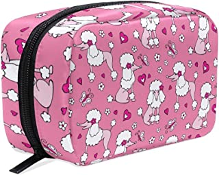 DERLONKAJE Makeup Bag Portable Travel Cosmetic Pink Poodle Toiletry Bag Organizer Accessories Case Tools Case for Beauty W...