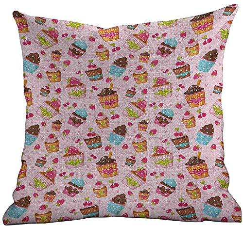 PotteLove Kussenslopen Roze, Keuken Cupcakes Muffins Aardbeien en Kersen Voedsel Eten Snoepjes Afdrukken, Pale Roze en Bruin, Standaard Kussensloop met rits