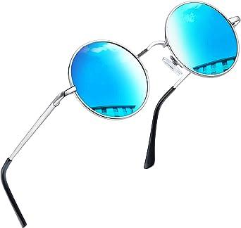 Joopin Gafas de Sol Hombre y Mujer Redondas Polarizadas Retro Vintage John Lennon Círculo Metálico Hippie Steampunk UV400