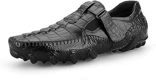 Rui Landed Mocasines para Hombre Faux Cocodrilo Patter Monk Correa Lug Soles Soles Cuero Genuino Slip on zapatos Square Toe Discoteca (Color   negro, Tamaño   39 EU)
