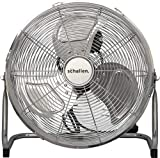 "Schallen Chrome Silver Metal High Velocity Cold Air Circulator Adjustable Floor Fan with 3 Speed Settings (14"")"