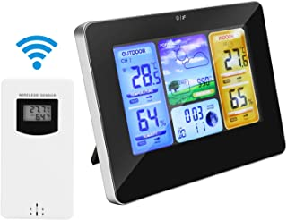 Allnice Weather Stations Wireless Indoor Outdoor with Alert and Temperature/Humidity/Barometric/Forecast/Moon Phase/Alarm Clock, LCD Digital Weather Station with Outdoor Sensor for Home Office(Black)