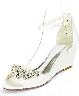 LGYKUMEG Femme Chaussures de Mariee Mariage Soiree Sandales à Talons Ouverts à Bout Bout Rond Escarpins Femme Bout