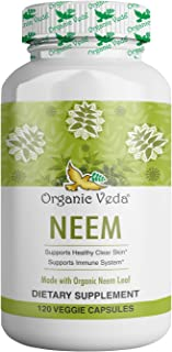 Organic Neem Leaf Powder 100 Veg Capsules. 100% Pure and Natural Raw Herb Super Food Supplement. Non GMO, Gluten FREE. US ...