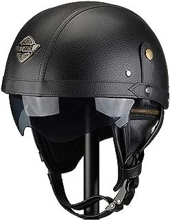 Traspirante Mantieni Caldo Adatto per Donna e Uomo Casco Jet Omologato ECE Nero 55-62cm LALEO Retro Harley Open Face Casco da Moto con Retro Goggle Bianco M-XL