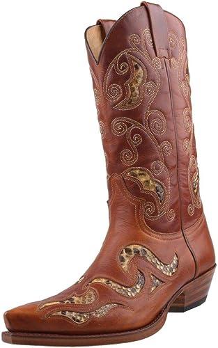 Sendra Stiefel Stiefel Cowboystiefel Cowboystiefel Cowboystiefel 7490 in braun incl. Roy Dunn′s Stiefelknecht, Lederfett und Sendra Tragetasche  zurückhaltende Luxus-Konnotation
