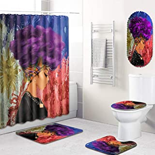 Graffiti Cool Fancy Style Portrait Polyester Bathroom Curtain Mat Set Feathuring African Black Young Woman Girl