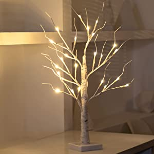 2FT24''LED Small Birch Trees Twig Lights,Fairy Spirit Warm White Tabletop Light up Tree Lamp, USB and Battery Powered Timer Artificial Branches Tree Decoration Home Party Festival Holiday(1 PCS)