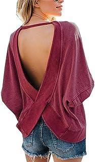 Women's Long Sleeve Back Cross Open Tee Top Backless Loose Shirt Blouse