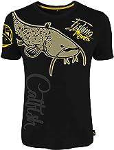 HOTSPOT DESIGN Fishing Mania Catfish, Negro, Camiseta, para Pescadores de bagre.