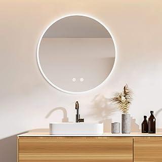 IDÉOVIE® Miroir Salle de Bain LED Rond 60cm(∅), Miroir Salle de Bain avec Éclairage Intégré, Système Anti-Buée + Interrupt...